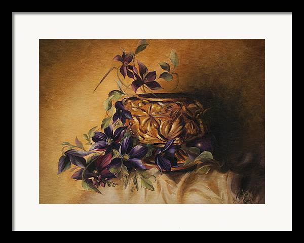 Still Life Framed Print featuring the painting Purple Clematis by Michelle Kerr
