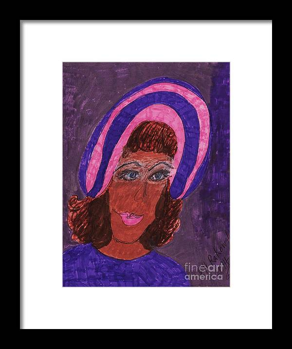Lady Wearing Purple And Pink Hat Framed Print featuring the mixed media Purple by Elinor Helen Rakowski