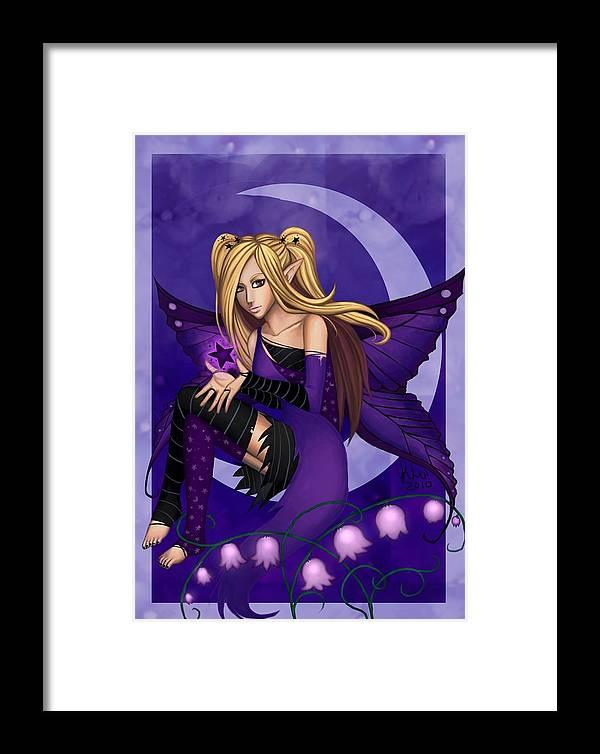 Purple Framed Print featuring the digital art Purple Fairy Of Night by KimiCookie Williams