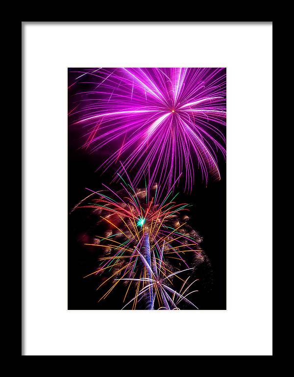 Dazzling Framed Print featuring the photograph Purple Fireworks by Garry Gay