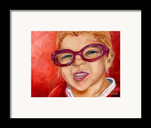 Portrait Framed Print featuring the painting Purple Glasses by Linda Vespasian