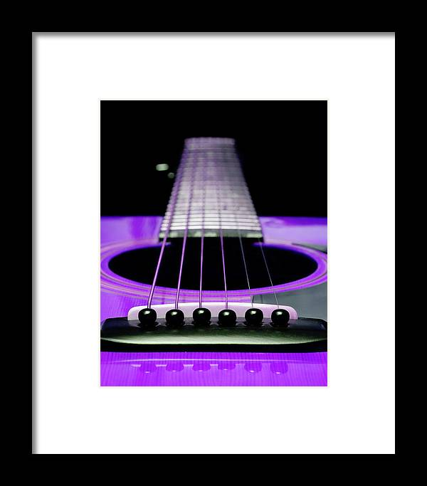 Andee Design Guitar Framed Print featuring the photograph Purple Guitar 15 by Andee Design