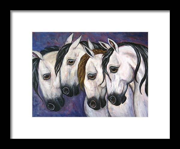 Horse Painting Framed Print featuring the painting Purple Haze by Frances Gillotti