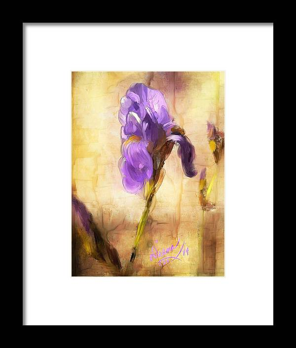 Iris Framed Print featuring the painting Purple Iris by Diana Ralph