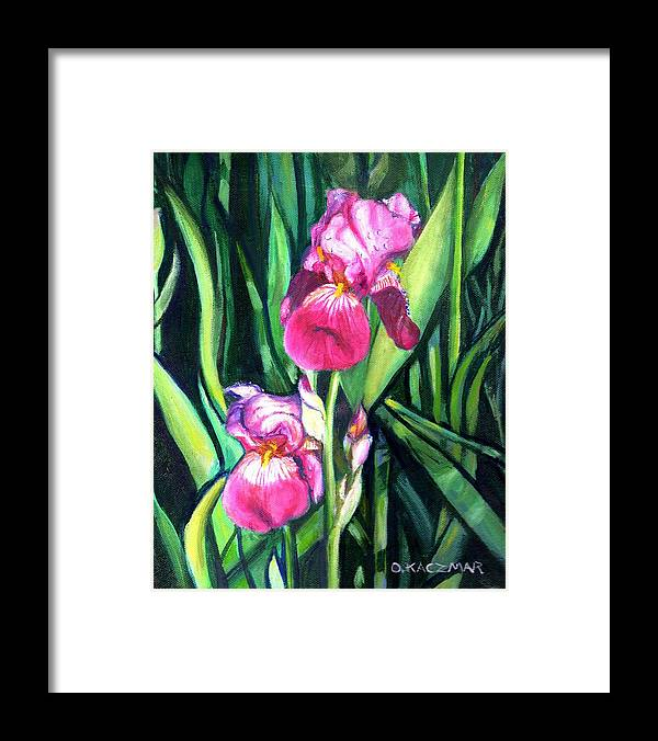 Flowers Framed Print featuring the painting Purple Iris by Olga Kaczmar
