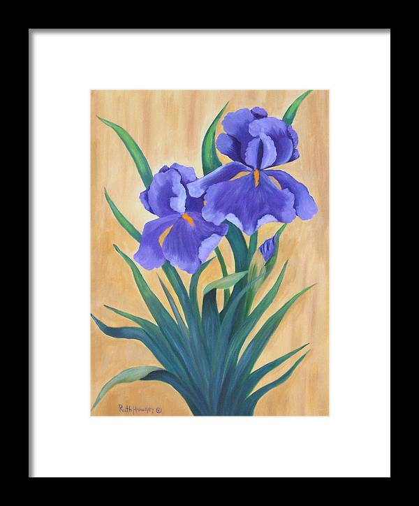 Floral Framed Print featuring the painting Purple Iris by Ruth Housley