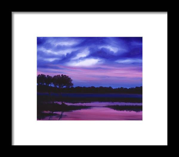 Sunrise Framed Print featuring the painting Purple Landscape Or Jean's Clearing by James Christopher Hill