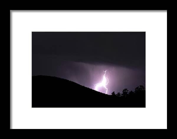 Lightning Framed Print featuring the photograph Purple Lightning by Matthew Fredricey