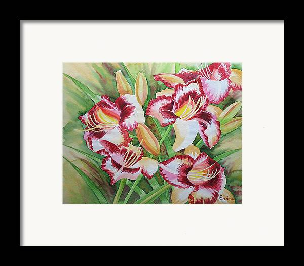 Watercolor Framed Print featuring the painting Purple Lilies.2007 by Natalia Piacheva