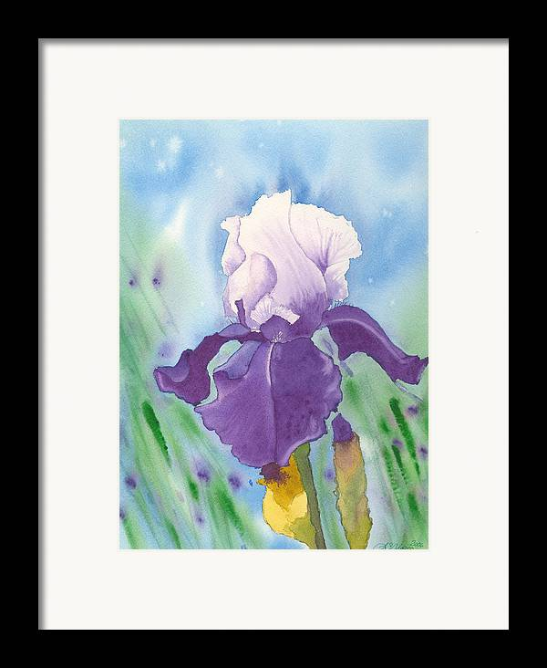 Iris Framed Print featuring the painting Purple by Louise Magno