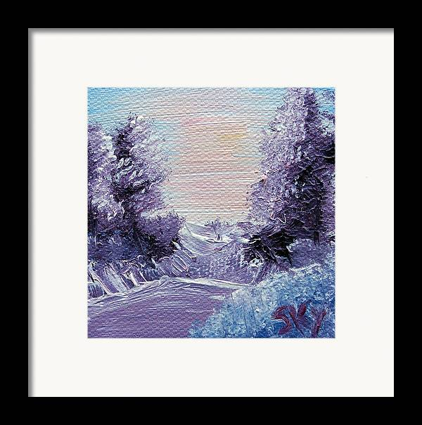 Wonderous Framed Print featuring the painting Purple Majesty Landscape by Jera Sky