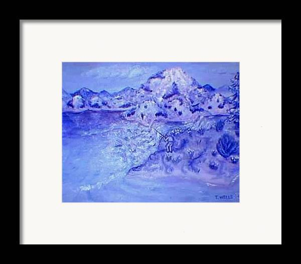 Monochromatic Purple Mountains Framed Print featuring the painting Purple Majesty by Tanna Lee M Wells