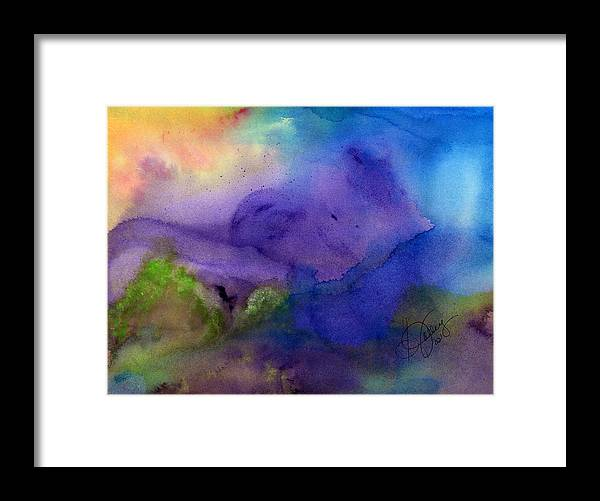 Watercolor Framed Print featuring the painting Purple Moon by Stephanie Jolley