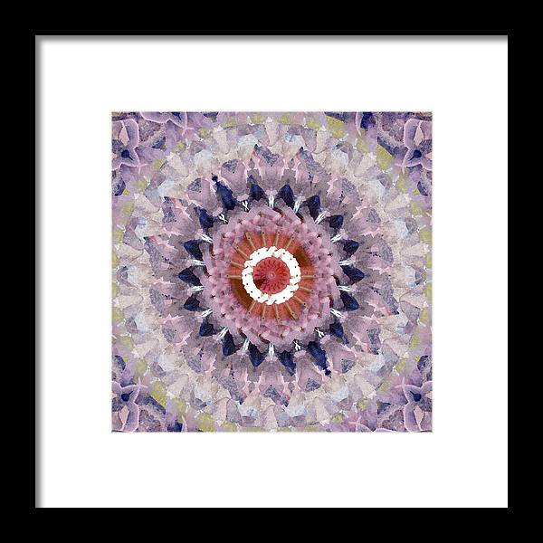 Purple Framed Print featuring the painting Purple Mosaic Mandala - Abstract Art by Linda Woods by Linda Woods