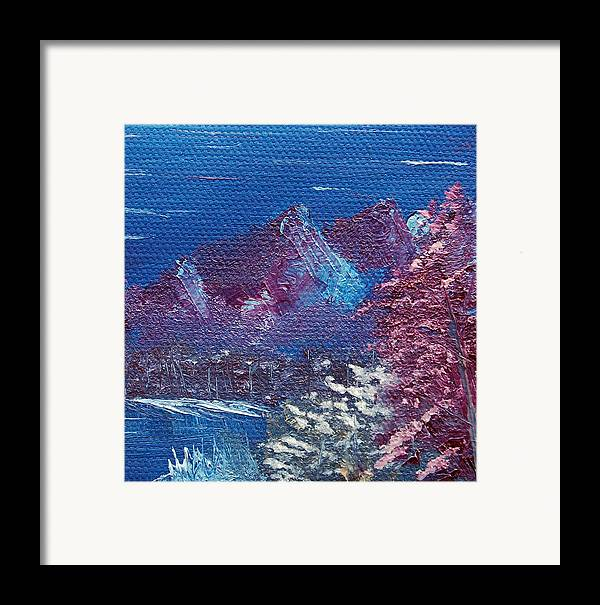 Landscape Framed Print featuring the painting Purple Mountain Landscape by Jera Sky