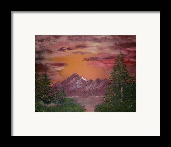 Loriginal Oil Framed Print featuring the painting Purple Mountain by Mikki Alhart