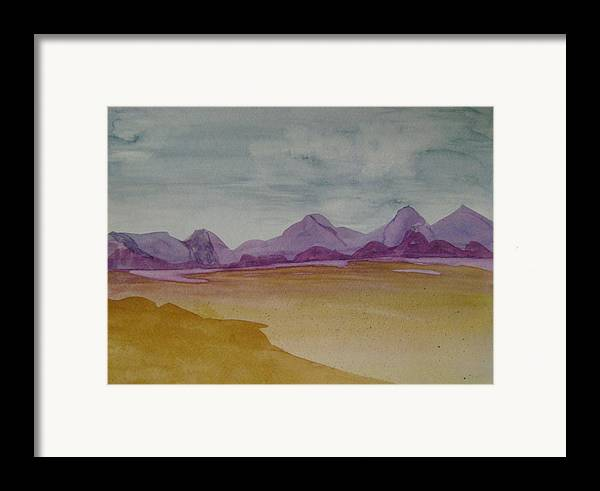 Purple Mounatians Framed Print featuring the painting Purple Mountains 2 by Dottie Briggs