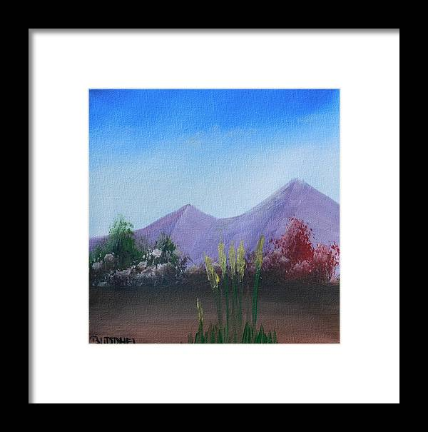 Landscape Framed Print featuring the painting Purple Mountains In The Summer by Boris Creemers