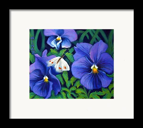 Pansy Framed Print featuring the painting Purple Pansies And White Moth by Minaz Jantz