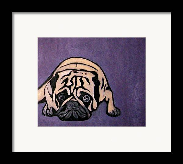 Pug Framed Print featuring the painting Purple Pug by Darren Stein
