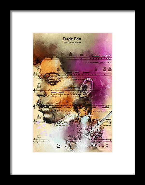 Prince Framed Print featuring the digital art Purple Rain Forever by Howard Barry