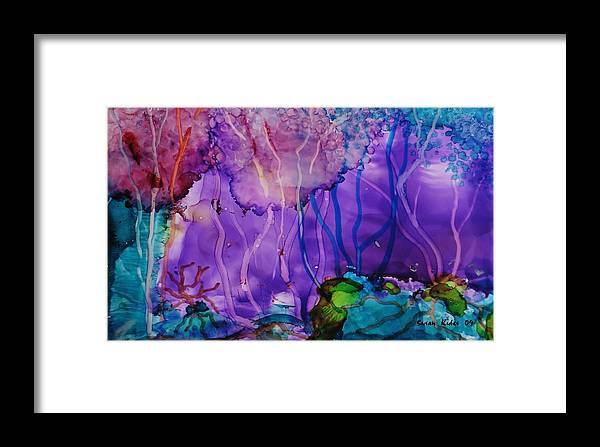 Abstract Framed Print featuring the painting Purple Silence by Susan Kubes