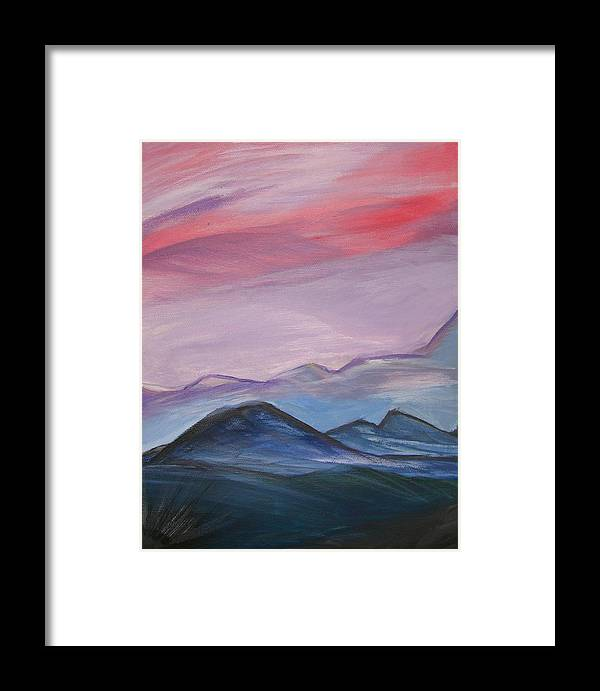 Mountain Framed Print featuring the painting Purple Sky by Liz Vernand