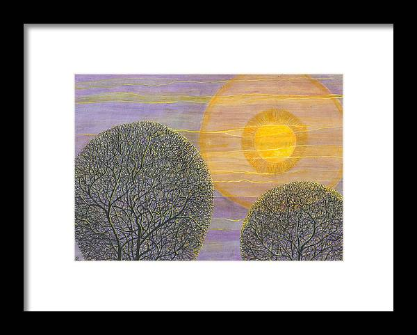 Trees Framed Print featuring the painting Purple Sunset by Charles Cater