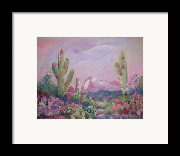 Landscape Framed Print featuring the painting Purple Surprise by Lindsay St john