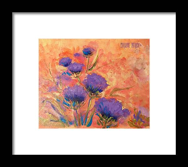 Thistles Framed Print featuring the painting Purple Thistles by Caroline Patrick