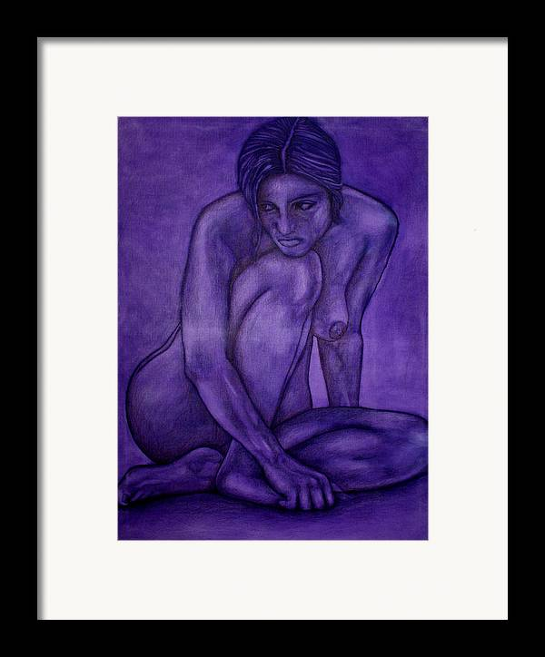 Nude Women Framed Print featuring the painting Purple by Thomas Valentine
