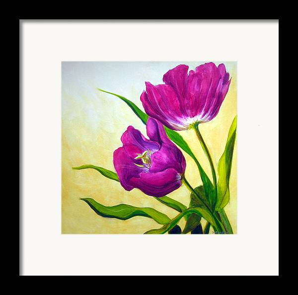 Tulip Framed Print featuring the painting Purple Tulips by Scott Gordon