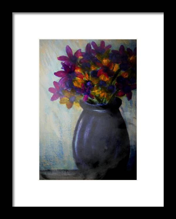 Framed Print featuring the painting Purple vase and flowers by Joseph Ferguson