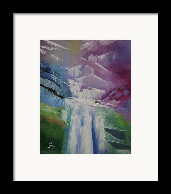 Abstract Framed Print featuring the painting Purple Waterfalls by Lian Zhen