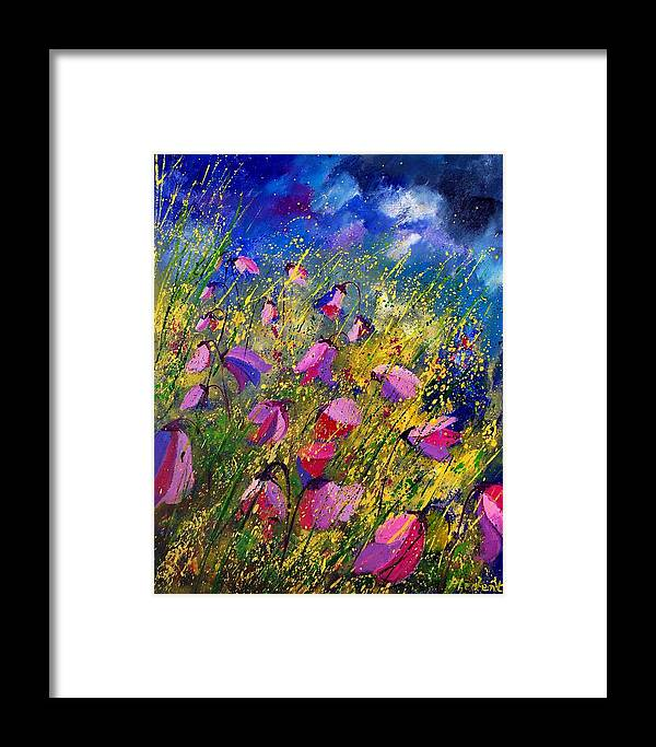 Poppies Framed Print featuring the painting Purple Wild Flowers by Pol Ledent