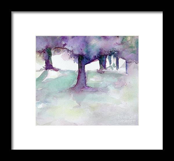 Landscape Framed Print featuring the painting Purplescape II by Jan Bennicoff