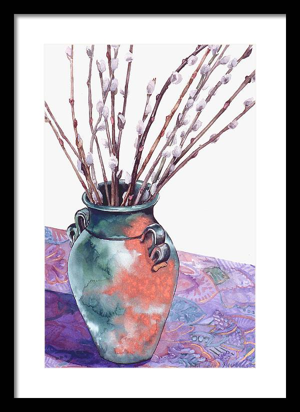 Watercolor Framed Print featuring the painting Pussy Willows Bouquet by Caron Sloan Zuger