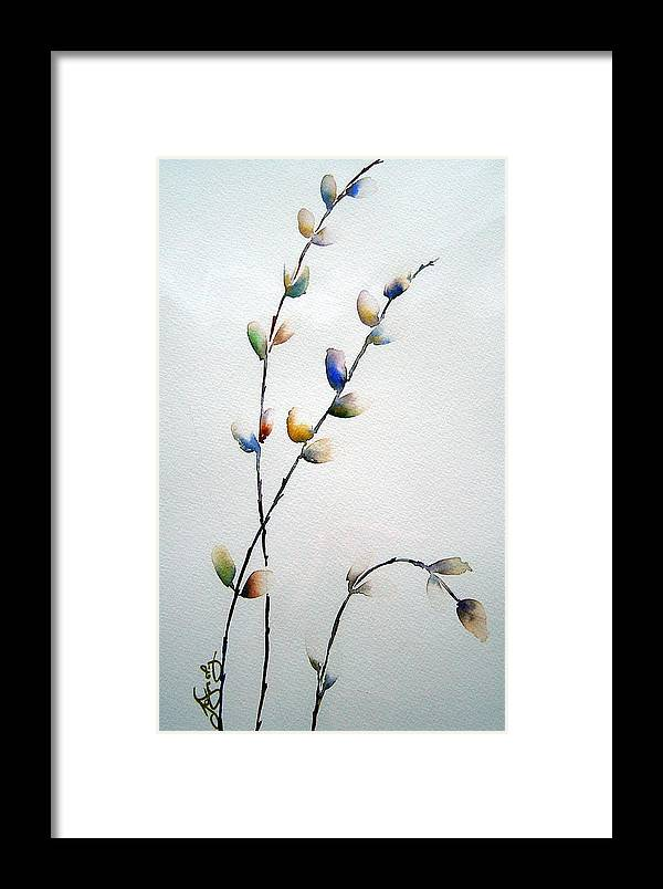 Pussy Willow Branches Framed Print featuring the painting Pussy Willows by Joanne Smoley