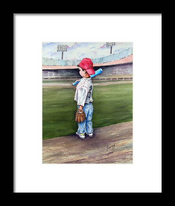 Baseball Framed Print featuring the painting Put Me In Coach by Sam Sidders