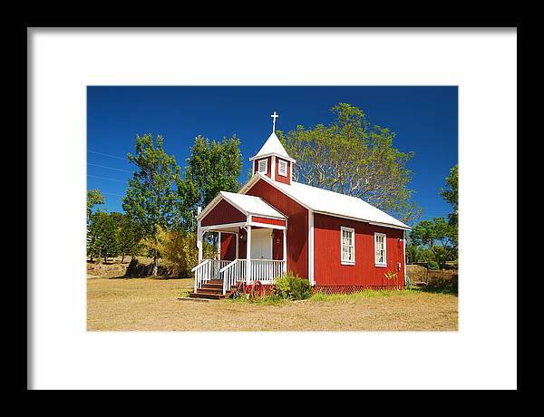 Christian Framed Print featuring the photograph Pu'uanahulu Baptist Church - Pu'uanahulu by Steven Rice
