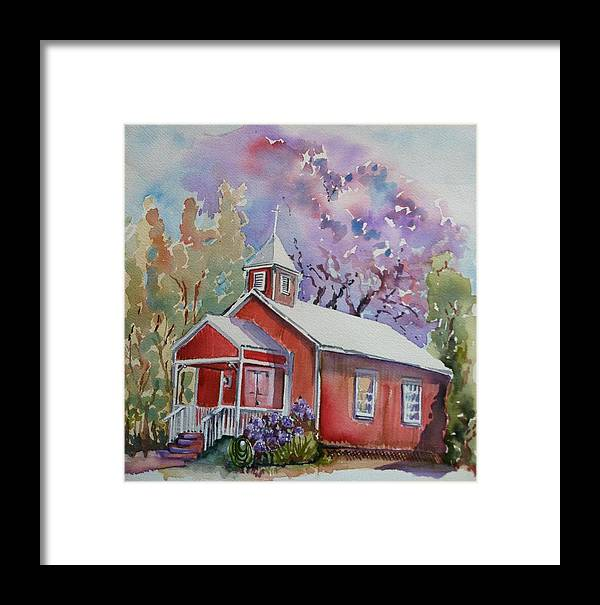 Hawaii Framed Print featuring the painting Pu'uanhulu Church by Marie Ritzman