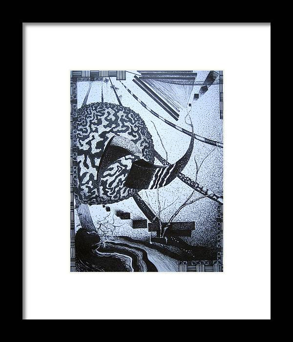 Abstract Framed Print featuring the drawing Puzzled by Jessica De la Torre