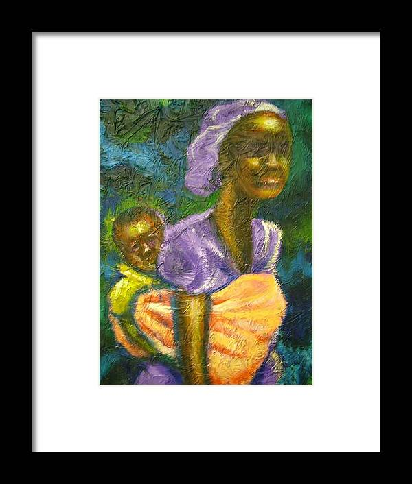 Mother And Child Framed Print featuring the painting Safe And Secure by Jan Gilmore
