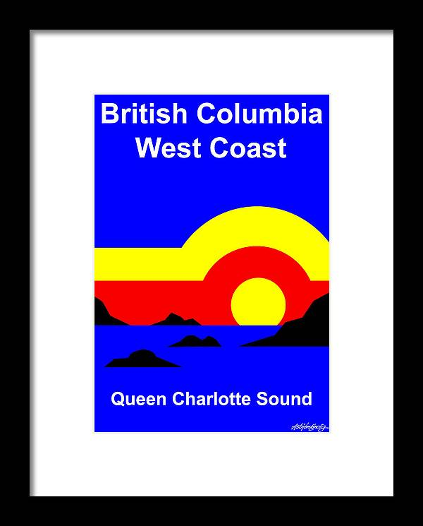 Queen Charlotte Sound Framed Print featuring the digital art Qcs Sunset by Asbjorn Lonvig