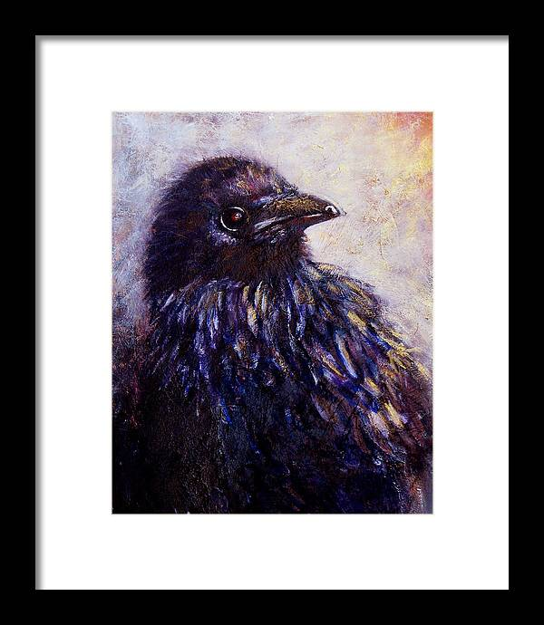Raven Framed Print featuring the painting Quaint And Curious by Sandy Applegate