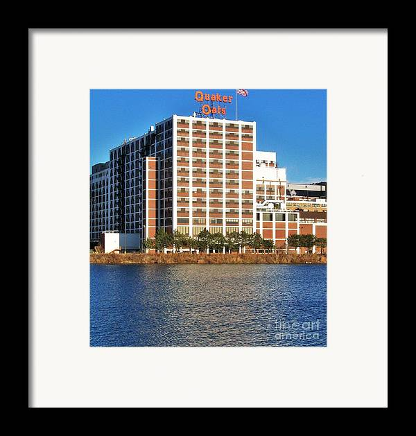 Photo Framed Print featuring the photograph Quaker Oats First Building by Marsha Heiken