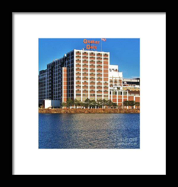 Photo Framed Print featuring the photograph Quaker Oats First Building by Marsha Heiken