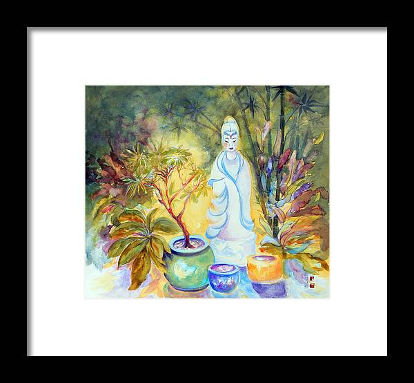Gardens Framed Print featuring the painting Quan Yin Garden by Caroline Patrick