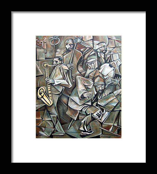 Jazz Quartet Monk Coltrane Framed Print featuring the painting Quartet 1958 by Martel Chapman