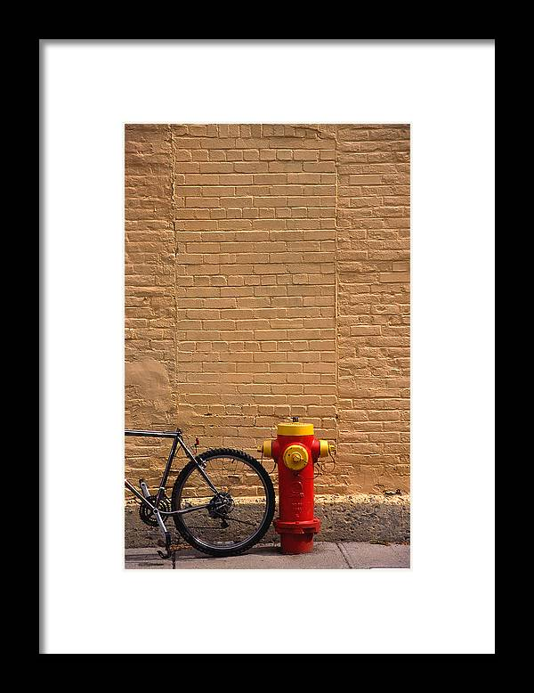 Bicycle Framed Print featuring the photograph Quebec Hydrant by Art Ferrier